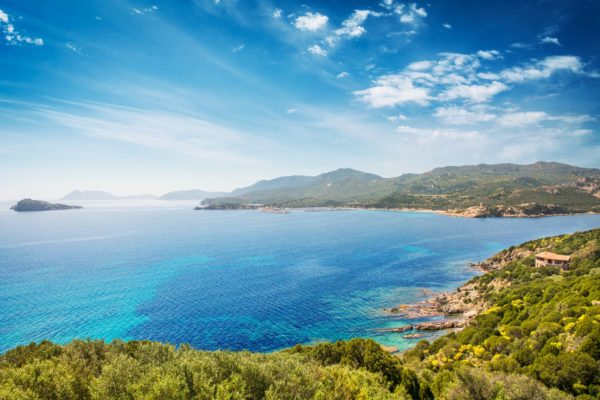 Panoramic view of the coast of Teulada in Sardinia, in a sunny spring day