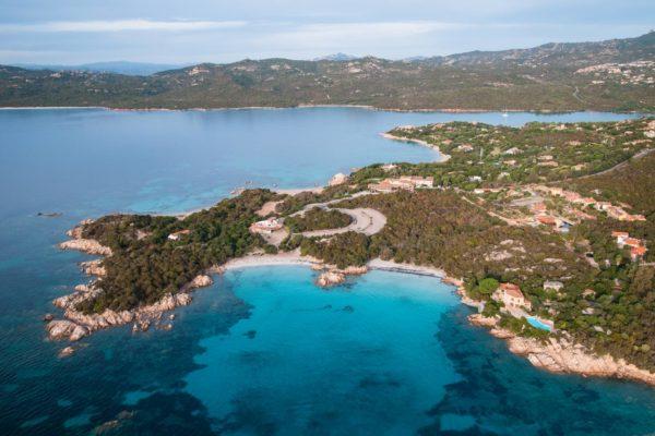 Sardinia, Italy. Aerial view of Costa Smeralda. Capriccioli beaches.