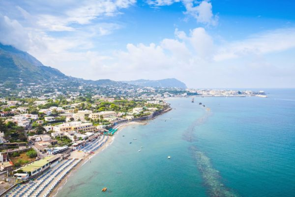 Coastal landscape with beach of Forio, Ischia Island, Italy